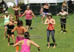 Hula hoop yoga